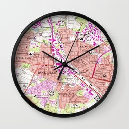 Vintage Map of Rockville Maryland (1965) Wall Clock