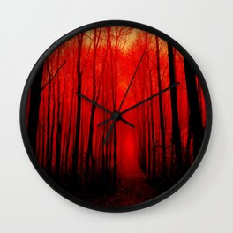Misty Red Forest Wall Clock