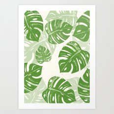 Linocut Monstera Leaf Pattern Art Print