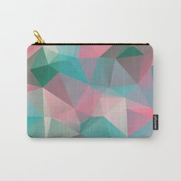 Polygon mosaic abstract design in pink and green Carry-All Pouch