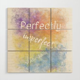 Perfectly Imperfect - Wabi-Sabi (white, blue, orange, yellow, purple) Wood Wall Art