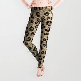 Elegant Gold Glitter Black Leopard Print Leggings