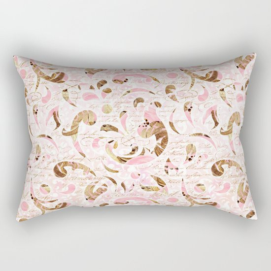 Pink Brown Swirls Rectangular Pillow