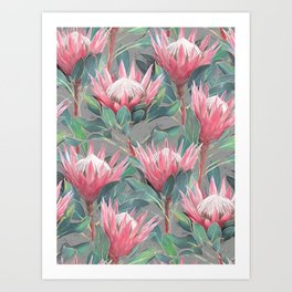 Pink Painted King Proteas on grey Art Print