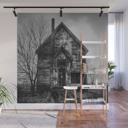 School's Out - Abandoned Schoolhouse in Iowa in Black and White Wall Mural