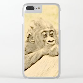 Vintage Animals - Gorilla Baby Clear iPhone Case
