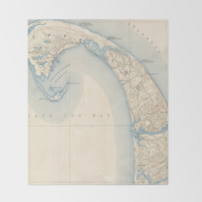 Vintage Map of Lower Cape Cod Throw Blanket