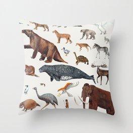 Animal chart of the Holocene extinction Throw Pillow
