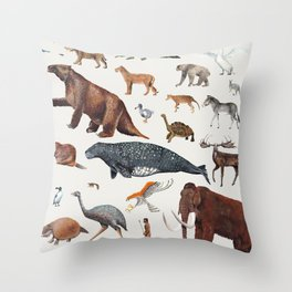 Animal chart of the Holocene extinction Throw Pillow