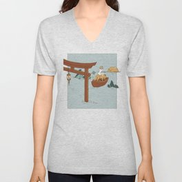 They Followed the Moon Together - Coyote Wolf & Nude Woman on Ocean in Boat Unisex V-Neck