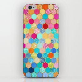 Patterned Honeycomb Patchwork in Jewel Colors iPhone Skin