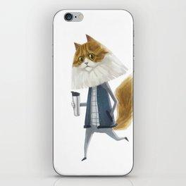 A cat holding a tumbler iPhone Skin