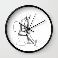 toilet Wall Clocks featuring mister toilet by mars clarke