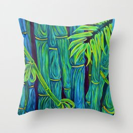 ʻOhe Polū - Blue Bamboo Throw Pillow