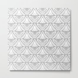 Butterfly and Flower Pattern Gray 2 Metal Print