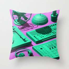 Low Poly Studio Objects 3D Illustration Throw Pillow