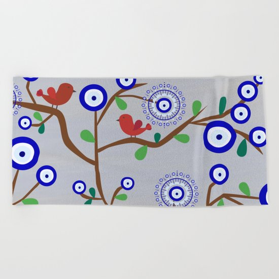 Lucky Evil Eye Bird Tree Beach Towel