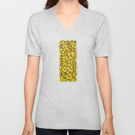 Bunch of mini yellow watercolor rapeseed flowers Unisex V-Neck