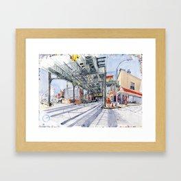 Under Brooklyn train beams Framed Art Print