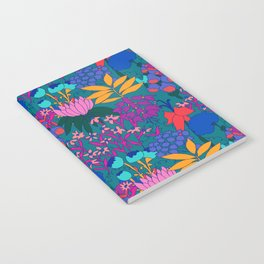 Psychedelic Jungle Garden in Pond Teal Notebook