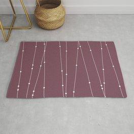 Contemporary Intersecting Vertical Lines in Mulberry Rug