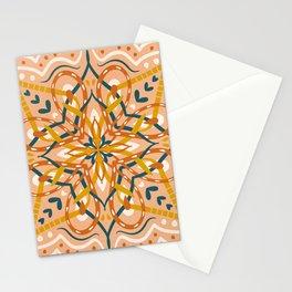 Teal and Brown Folk Art Mandala Stationery Cards