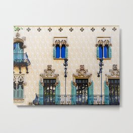 Apartment Building Block Exterior Facade In Barcelona Metal Print