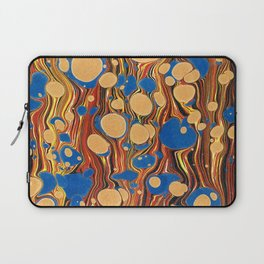Vintage navy blue yellow orange abstract marble Laptop Sleeve