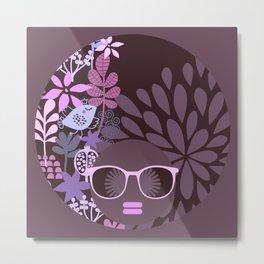 Afro Diva Lavender Purple-Taupe Metal Print