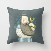 wesley bird Throw Pillows featuring Bird by Seaside Spirit