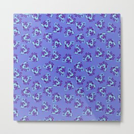 Bright Vintage Floral in Blue Metal Print