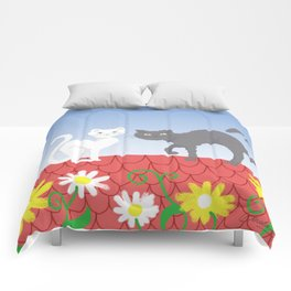 Cats on the roof Comforters