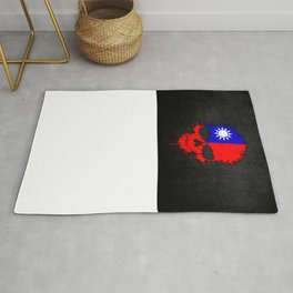 Flag of Taiwan on a Chaotic Splatter Skull Rug