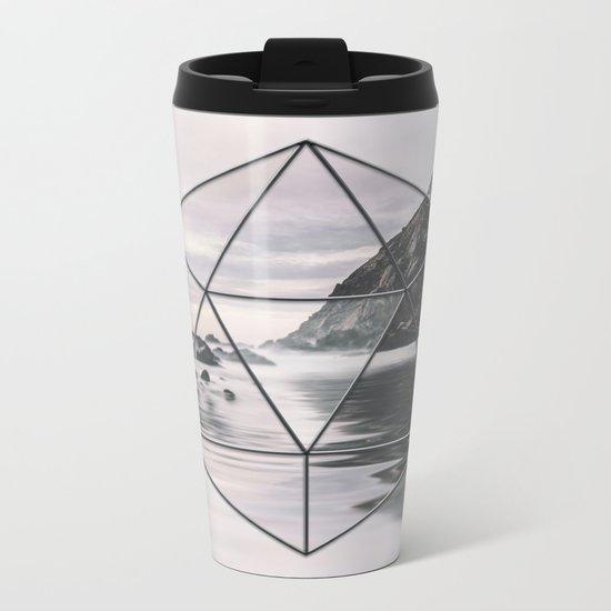Surreal Geometric Calm Water Landscape View Hexagon Metal Travel Mug