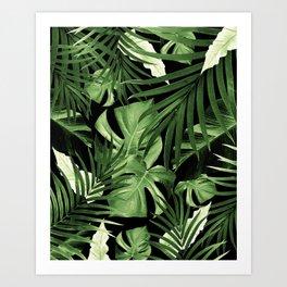 Tropical Jungle Night Leaves Pattern #5 #tropical #decor #art #society6 Art Print