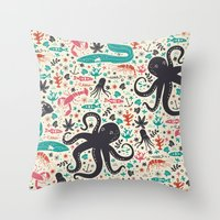 tea Throw Pillows featuring Sea Patrol by Anna Deegan