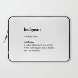 Bedgasm black and white contemporary minimalism typography design home wall decor bedroom Laptop Sleeve