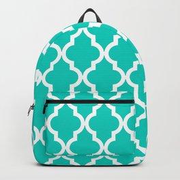 Aqua Moroccan Quatrefoil Pattern Backpack