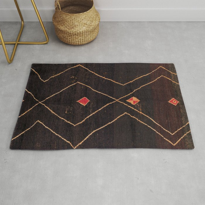 Feiija  Antique South Morocco North African Pile Rug Print Rug