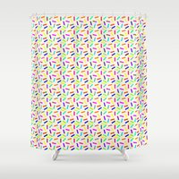 sprinkles Shower Curtains featuring Sprinkles by Gary Hunt Illustration