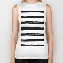 Stylish Black and White Stripes Biker Tank