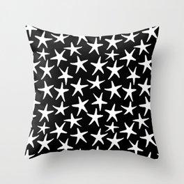 White Stars Black Background Throw Pillow