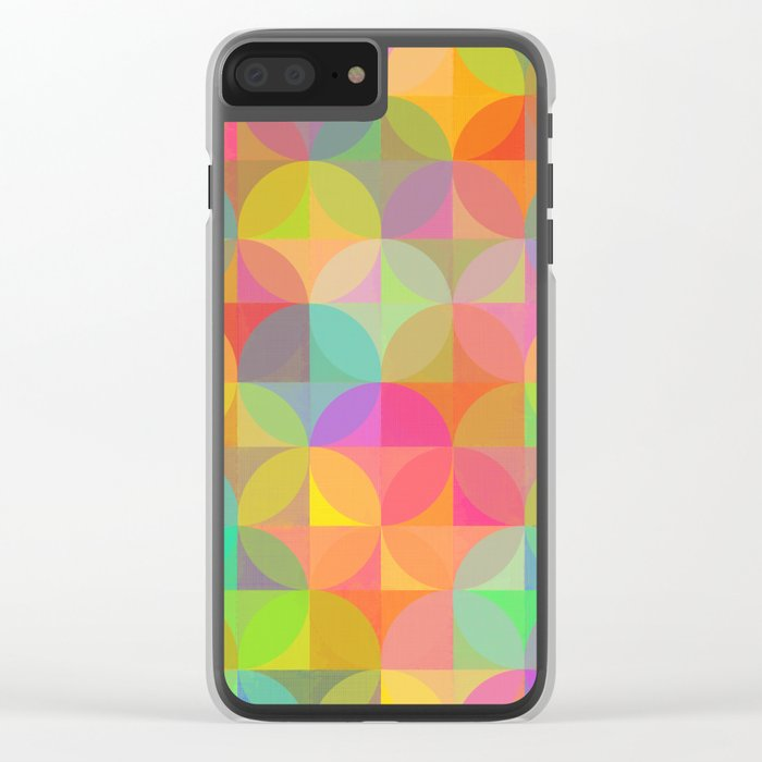 Vibrant Plaid and Circle Pattern Clear iPhone Case