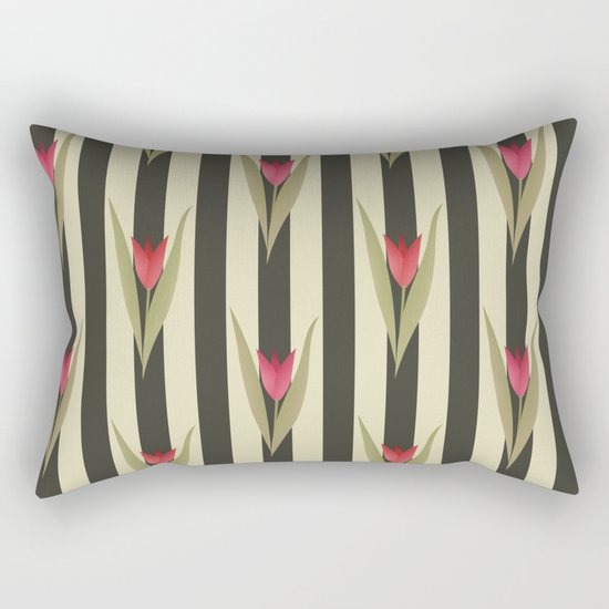Spring flowers. Tulips are red. Retro. Rectangular Pillow