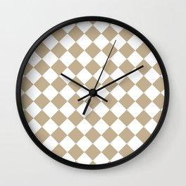 Diamonds - White and Khaki Brown Wall Clock