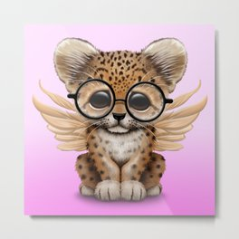 Cute Leopard Cub Fairy Wearing Glasses Pink Metal Print
