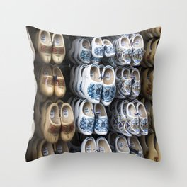 Folklore clogs of Volendam, Holland Throw Pillow