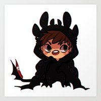 hiccup Art Prints featuring httyd2 onsies - Hiccup by Pris