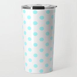 Small Polka Dots - Celeste Cyan on White Travel Mug