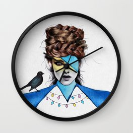 Blue Girl & Black Bird Wall Clock